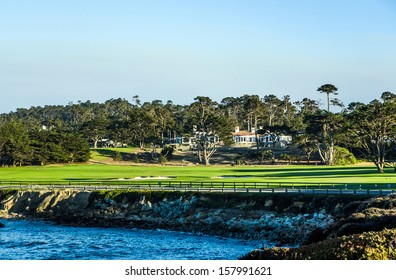 PEBBLE BEACH, USA - JULY 27: beautiful houses at the Pebble Beach Golf Course in Pebble Beach on July 27, 2013. Pebble Beach is part of the famous 17 miles drive area.