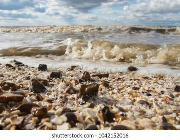 pebble and broken shells on a beach macro image at the shore line. The foam of the surf and bubble can be seen on the wet beach and the horizon in the distance