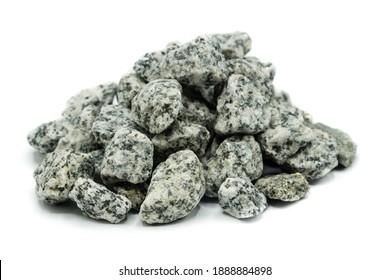 Pebble heap isolated on white background