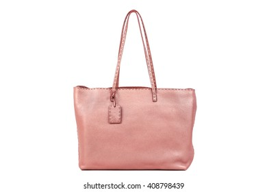 Pebble Leather Rose Quartz Color Women's Tote Handbag on a White Background