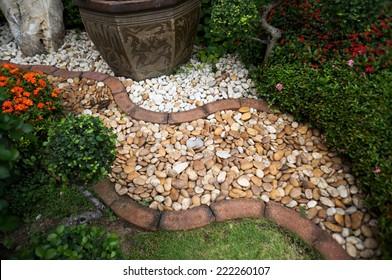 pebble path in the garden