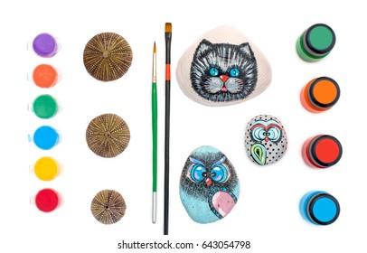 Pebble pattern. Draw on the stone. Children's creativity.