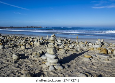 Pebble and rock piles, 17 mile drive