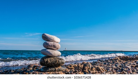 Pebble stacked together near Beach - beautiful landscape