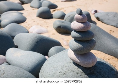 Pebble tower on the beach in Brittany