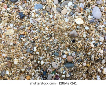 Pebbles, corals and sand under water