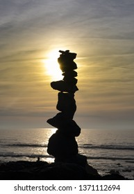 Pebbles in equilibrium, concept of harmony and balance
