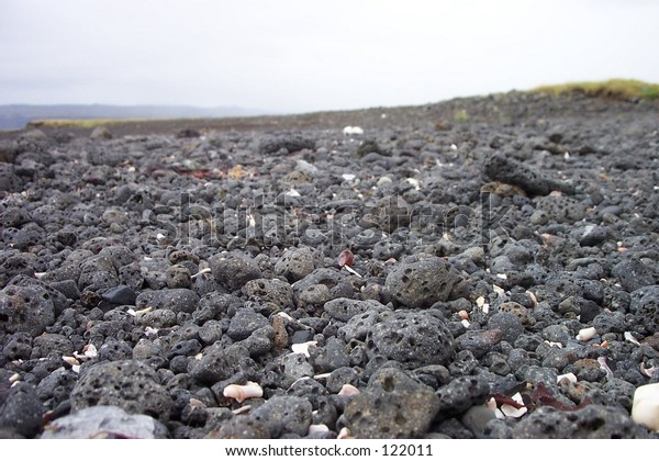 Pebbles on the beach in Selvogur, south Iceland.
