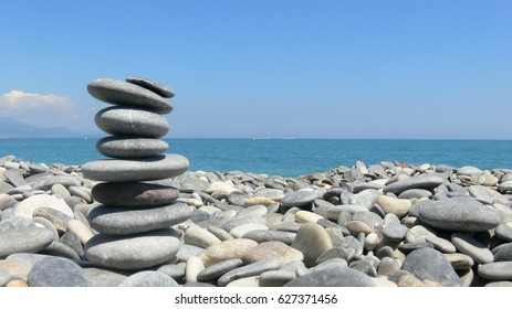 Pebbles on each other - meditation in the beach