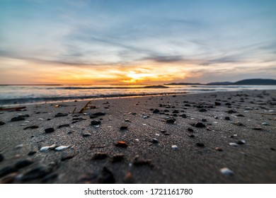 Pebbles and sand in Alghero lido at sunset. Sardinia, Italy