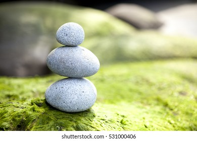 pebbles Stone pyramid in natural environment