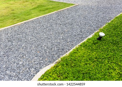 Pebbles walkway in the garden with part of lawn and green plant