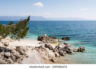 Pebbly Beach in Rabac, Istria region , Croatia