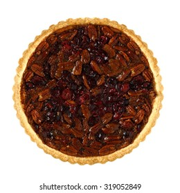 Pecan and cranberry autumn pie, above view isolated on a white background