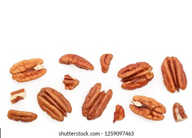 pecan nut isolated on white background with copy space for your text. Top view. Flat lay