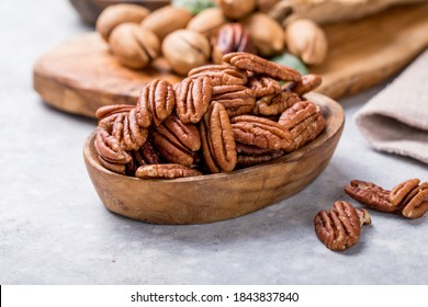 Pecan nut unshelled. Pecans are rich in various trace elements and vitamins