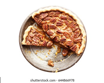 Pecan Pie isolated on white background, top view
