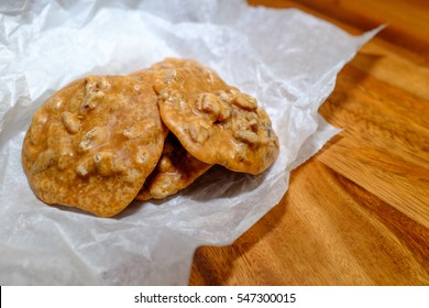 pecan pralines are a popular sweet treat in New Orleans, Louisiana, the recipe of which was brought in by French settlers. They are made of sugar, pecan, and cream