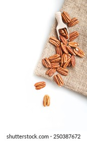 pecans nuts on white background