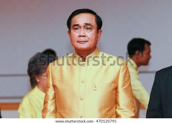 PECHABURI THAILAND-JULY 8 2016: 29th Prime Minister of Thailand Prayut Chan-o-cha Presided over the opening ceremony of Bua Bart Yart Ta An exhibition in Honor of His Majesty the King