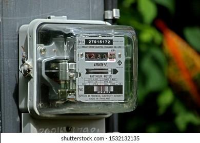 PECHABURI-THAILAND-JULY 16 : Detail of watt meter on the concrete pole, July 16, 2019 Pechaburi Province, Thailand