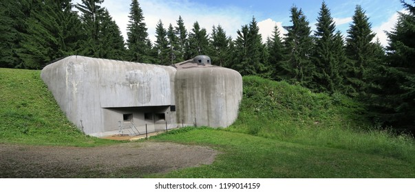 Pechotni srub U Lomu - stronghold from 2nd World War in Orlicke hory mountains in Czech Republic