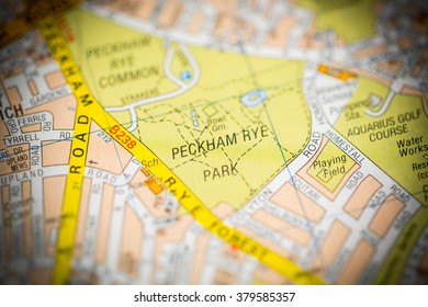 Peckham Rye Park. London, UK map.