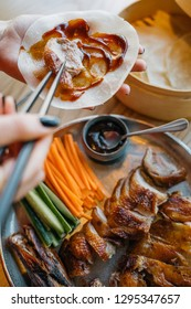 Pecking duck with flapjack