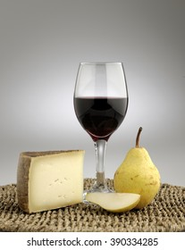 Pecorino cheese with local pear and red wine