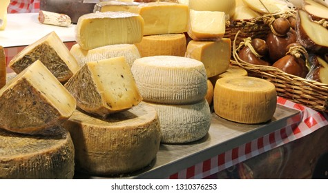 Pecorino cheese and more italian foods for sale at local market
