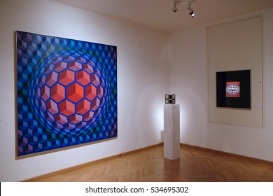 PECS, HUNGARY - JULY 2015: Artwork at the Vasarely Museum in Pecs Hungary