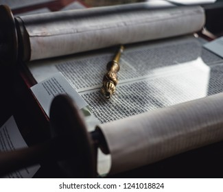 PECS, HUNGARY - OCTOBER 7, 2018: Hebrew Torah scroll