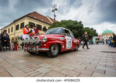 PECS - OCTOBER 7 : 50th Mecsek Rally starting at the Szechenyi Square in Pecs on 7 October 2016 in Pecs, Hungary. Mecsek Rally is a famous hungarian car race