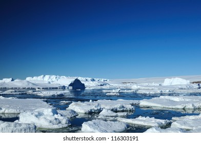 Peculiar landscape of the Antarctica.