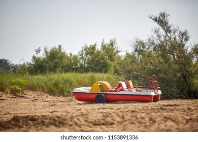 Pedal boat on the beach in italy
