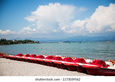 pedal boats on lake garda, peschiera del garda