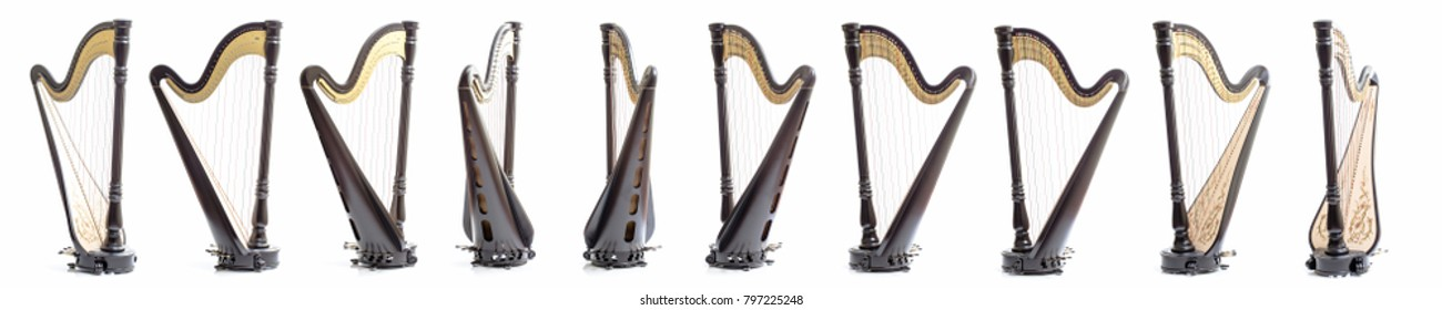Pedal harp from different angles, in a turn. Dark matt lacquer. On a white background