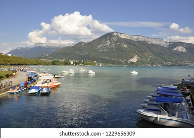 pedalo on annecy lake in savoy during summer holidays
