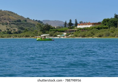Pedalo on Lake Kournas - A natural freshwater lake in Crete, Greece