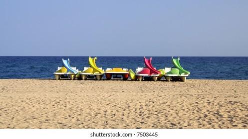 Pedalos on the beach