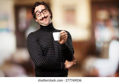 pedantic man having a coffee