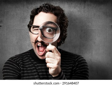 Pedantic images stock photos vectors shutterstock pedantic man with a magnifier surprised aloadofball Images