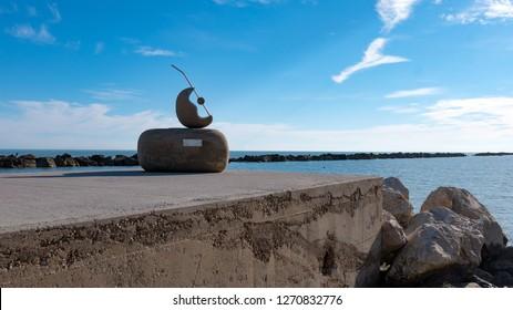 PEDASO, ITALY - DECEMBER, 2018: Abstract sculpture by Elena Saracino on the beach.