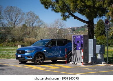 PEDASO, ITALY - MARCH 2021: Recharging Volvo XC40, the compact Sport Utility Vehicle (SUV) by Volvo Cars. The Volvo Group was founded in 1927, it is a Swedish luxury automobile marque.