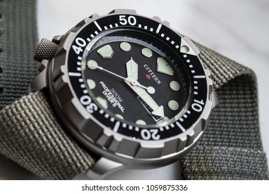 PEDASO, ITALY - MARCH 31, 2018: Citizen professional diver titanium watch. Citizen is a Japanese company manufacturing watch products, precision instruments and mechanics.  Illustrative editorial.