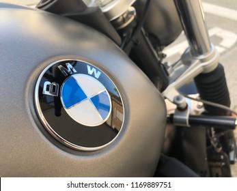 PEDASO, ITALY - SEPTEMBER 2018: BMW logo on motorbike Nine-T parked in the street.