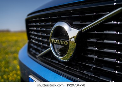 PEDASO, ITALY: Volvo XC40 logo detail, compact Sport Utility Vehicle (SUV) by Volvo Cars. The Volvo Group was founded in 1927, it is a Swedish luxury automobile marque.