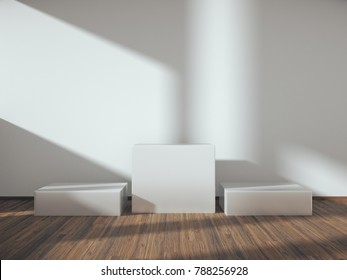 Pedestal for display,Platform for design,Blank product stand with empty room.3D rendering.