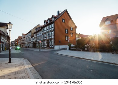 Pedestrian area of Wernigerode in the summer