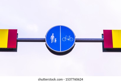 pedestrian and bicycle lane hanging sign.